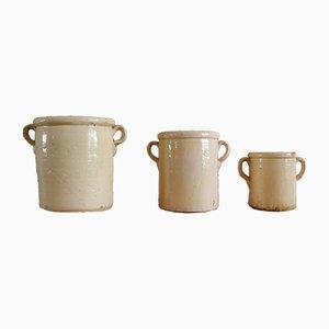 Mid-Century Töpfe aus Keramik, 3er Set
