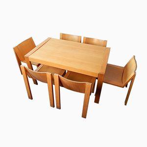 Erweiterbarer SE15 Esstisch & 8 Stühle von Mazairac & Boonzaaijer für Pastoe, 1970er
