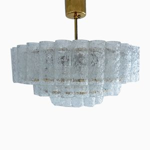 Crystal Glass & Brass Chandelier from Doria Leuchten, 1960s