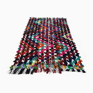 Nomadic Anatolian Striped Kilim Rug with Colorful Poms, 1970s