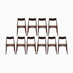 Customizable Vintage Teak Boomerang Chairs by Alfred Christensen for Slagelse Mobelværk, Set of 12 in Sand