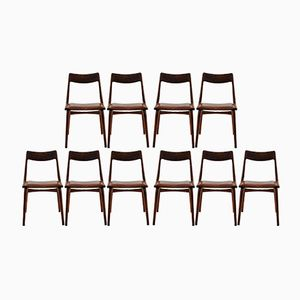 Customizable Vintage Teak Boomerang Chairs by Alfred Christensen for Slagelse Mobelværk, Set of 12 in Stone Grey