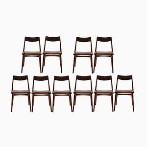 Customizable Vintage Teak Boomerang Chairs by Alfred Christensen for Slagelse Mobelværk, Set of 12 in Teal