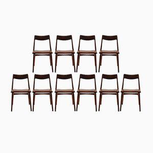 Customizable Vintage Teak Boomerang Chairs by Alfred Christensen for Slagelse Mobelværk, Set of 12 in Terracotta