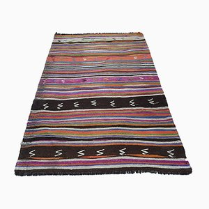 Vintage Turkish Striped Rug, 1970s