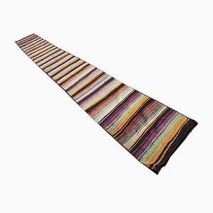 Alfombra de pasillo turca vintage de lana, años 70