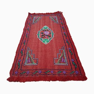 Vintage Turkish Floral Patterned Kilim