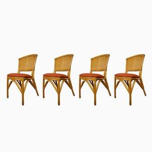 Chaises Vintage en Rotin & Tissu Corail, 1960s, Set de 4