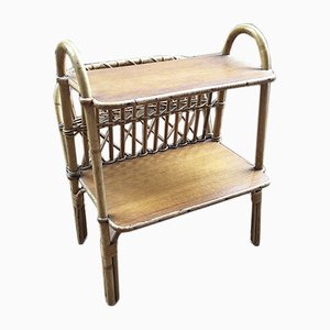 Rattan Magazine Rack or Console Table, 1960s