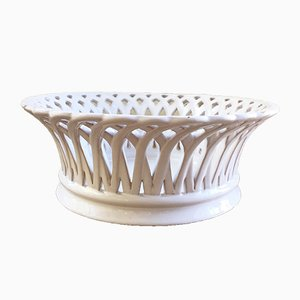Antique Ceramic Lattice Fruit Basket