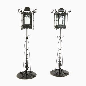 Antique Wrought Iron Floor Lamps, Set of 2