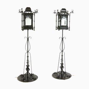 Lámparas de pie antiguas de hierro forjado. Juego de 2