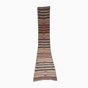 Alfombra de pasillo Kilim alargada de rayas, años 70