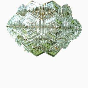 Deutscher Ballsaalleuchter mit sechseckigen Klarglasschirmen von VEB Kristallleuchtenbau Ebersbach, 1960er