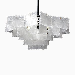 Frosted Glass Chandelier from Kalmar, 1950s