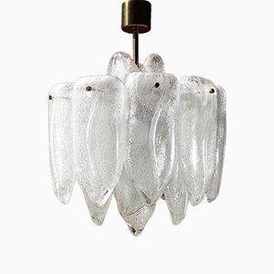 Kronleuchter mit 4 Leuchtstellen aus Kunstglas & mundgeblasenen Eisglasröhren von Doria, 1970er