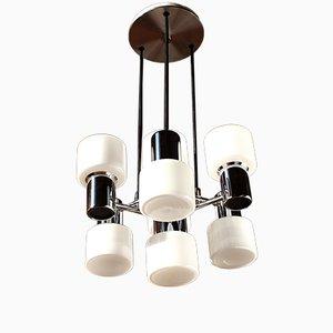 Lampadario modernista ad otto luci in metallo cromato e vetro opalino di Doria, anni '70