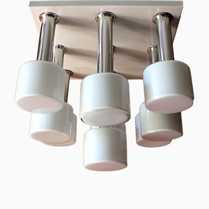 9-Light Chrome & White Enamel Ceiling Lamp with Opal Glass, 1970s
