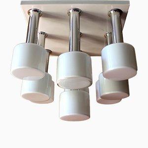 Lampada da soffitto a nove luci in metallo cromato e vetro opalino, anni '70