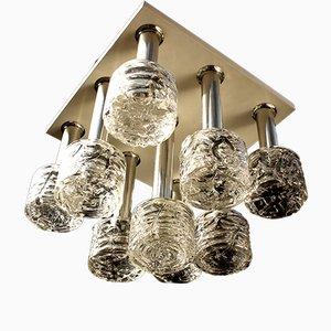 Lampada da soffitto in vetro soffiato e metallo cromato di Doria, anni '70