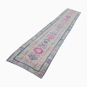 Alfombra de pasillo vintage de tejido plano Oushak, años 70