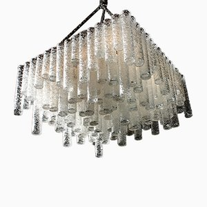 Cubic Ballroom Chandelier with 148 Art Glass Tubes from Doria Leuchten, 1970s