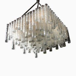 Lámpara de araña Wild cúbica de salón con 148 tubos de vidrio artístico de Doria, años 70