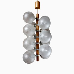Teak Chandelier with Glass Globes by Fritz Müller-Temde, 1960s