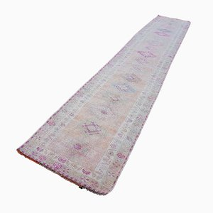 Vintage Muted Pink Oushak Runner, 1970s
