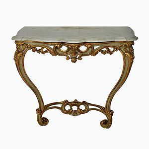 Antique French Serpentine Painted & Gilded Console Table