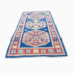 Blauer türkischer Mid-Century Oushak Teppich