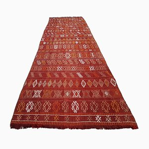 Vintage Turkish Red and Orange Kilim Runner, 1970s