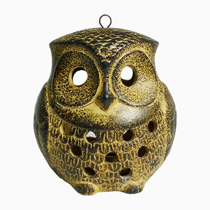German Ceramic Owl Candle Holder, 1970s