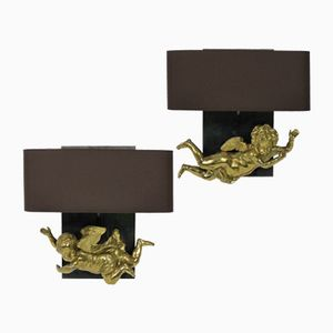 Antike Cherub-Wandleuchten aus vergoldetem Messing, 2er Set
