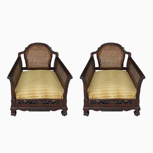 Antique Bergere Cane Lounge Chairs, Set of 2