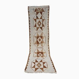 Alfombra de pasillo Kilim marroquí Mid-Century bordada