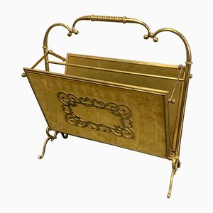 Vintage Brass Folding Magazine Rack