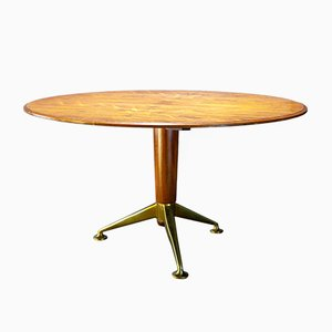 Rosewood & Brass Dining Table by A J Milne for Heal's, 1940s