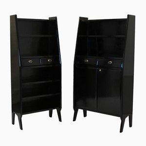 Large Mid-Century Ebonized Architectural Bookcases, Set of 2