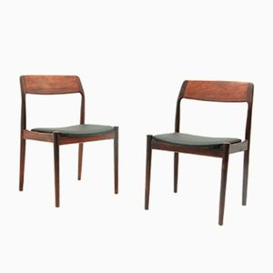 Danish Rosewood & Vinyl Chairs by Niels Otto Møller, 1960s, Set of 2
