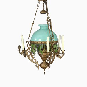 19th-Century French Oil Lamp Chandelier