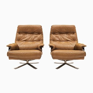 Chrome & Leather Swivel Lounge Chairs by Arne Norell for Vatne Møbler, 1960s, Set of 2