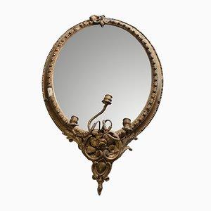 Antiker Spiegel mit vergoldetem Rahmen mit Girandole