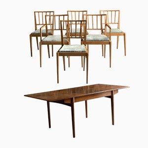 Tavolo da pranzo allungabile Mid-Century in teak con sei sedie di Bath Cabinet Makers, anni '70