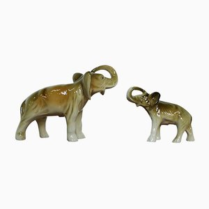 Czech Porcelain Elephant Figurines from Royal Dux, 1950s, Set of 2