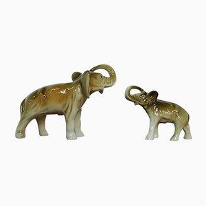Tschechische Elefantenfiguren aus Porzellan von Royal Dux, 1950er, 2er Set