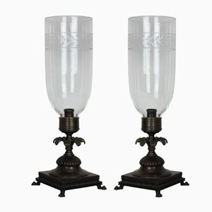 Regency Style Storm Shade Table Lamps, 1930s, Set of 2