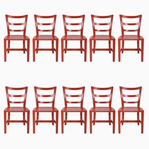 Englische Stühle aus Nussholz, 1950er, 10er Set