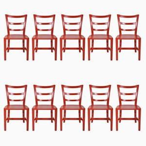 English Walnut Chairs, 1950s, Set of 10