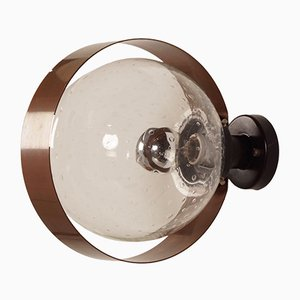 Lámpara de pared de cobre y vidrio de Indoor, años 70